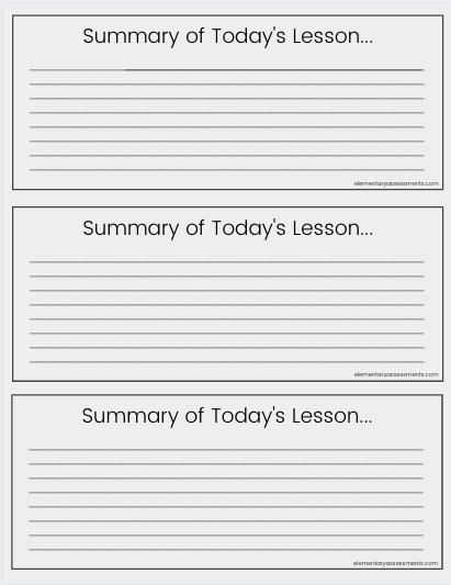 summary exit ticket template