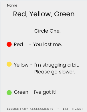 exit slip red yellow green
