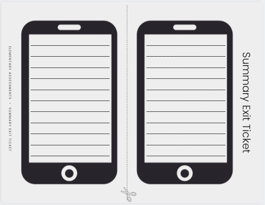 exit ticket template phone