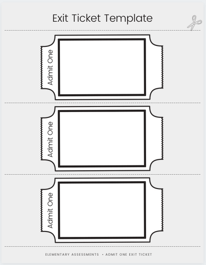exit ticket template admit one