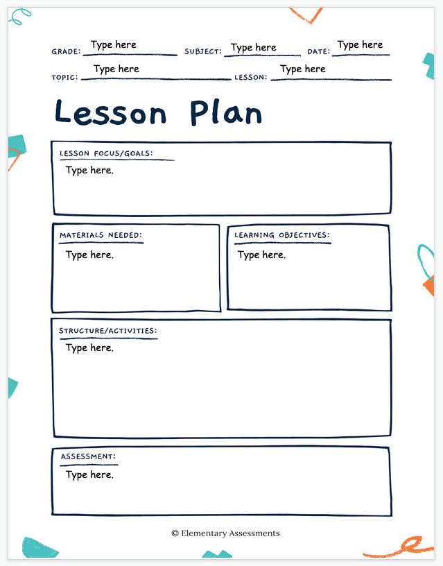 simple lesson plan template elementary primary
