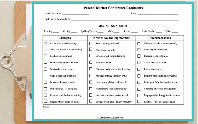 parent teacher conferences comments form