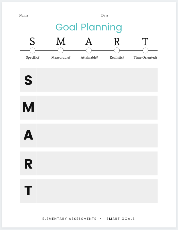 smart goals examples for elementary students pdf blank template