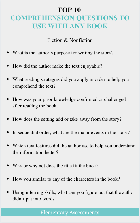 fiction and nonfiction comprehension questions for any book