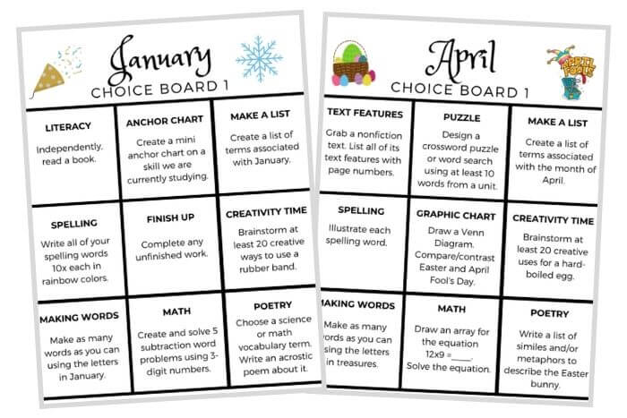 early finishers activities choice boards
