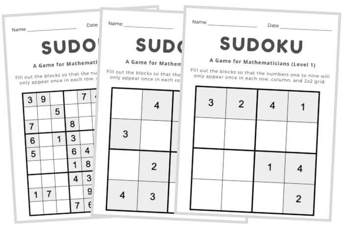 early finishers activities sudoku puzzles