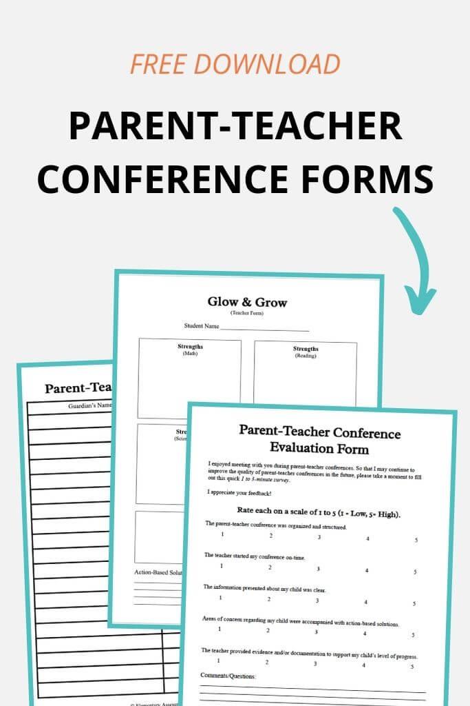 parent teacher conference forms free pdf
